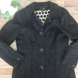 H&M Fully Lined Polka Dotted Black Trench Coat